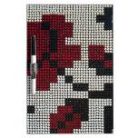 Pixelated Black, White, Red Dry-Erase Whiteboards