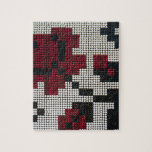 Pixelated Black, White, Red Jigsaw Puzzles