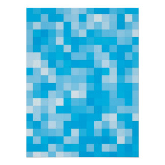 Pixelated Blue Poster