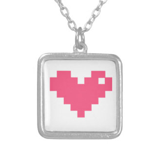 Pixelated Love Square Pendant Necklace