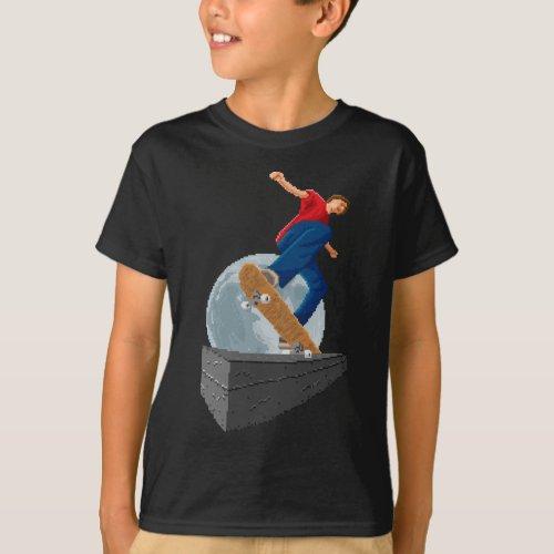pixelated moon skater T_Shirt