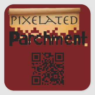 Pixelated Parchment Promotional Mouse Pad Square Sticker
