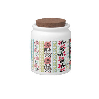 Pixelated pixel art embroidery flowers pink mint candy jar