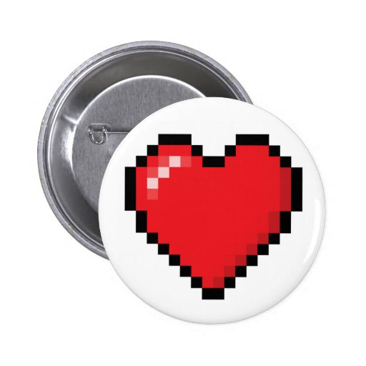 Pixelated red video game heart pin