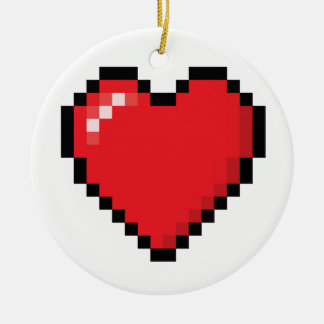 Pixelated red video game heart ceramic ornament