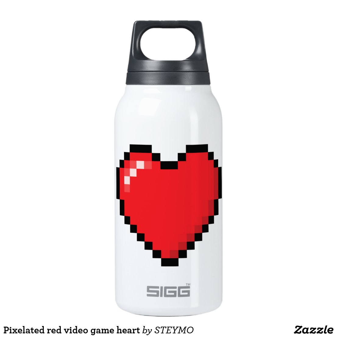 Pixelated red video game heart insulated water bottle