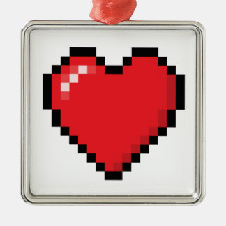 Pixelated red video game heart metal ornament