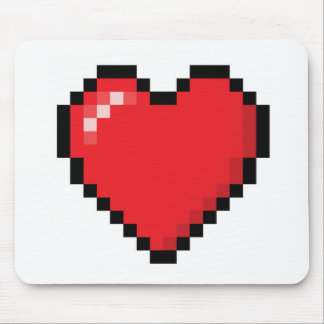 Pixelated red video game heart mouse pad