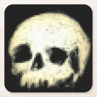 Pixelated Skull Square Paper Coaster
