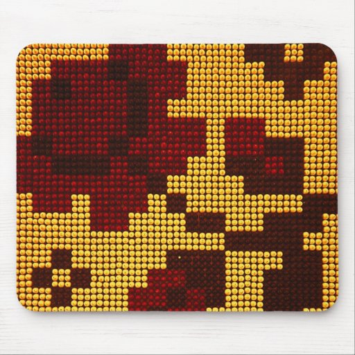Pixelated Yellow, Red, Brown Mousepad