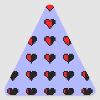 Pixeled Hearts Triangle Sticker