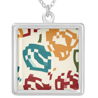 Pixeled shapes square pendant necklace