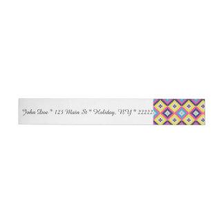 Pixeles aztecas geométricos etiquetas postales