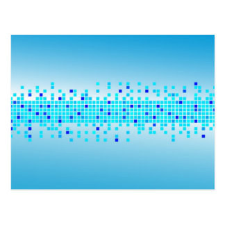 Pixeles azules tarjeta postal