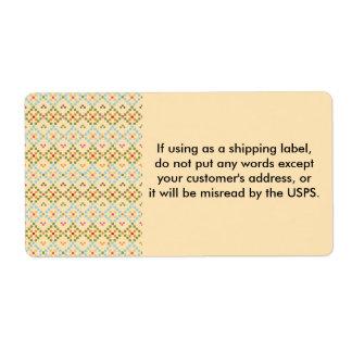 Pixeles cruzados de la puntada del bordado que etiqueta de envío