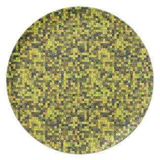 Pixeles verdes plato