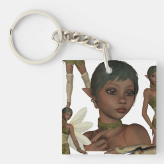 Pixie Elves Single-Sided Square Acrylic Keychain