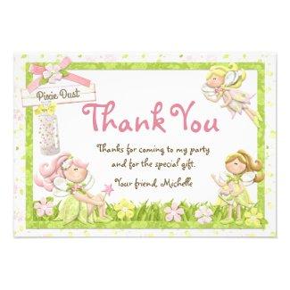 Pixie Fairy Birthday Party Thank You Card