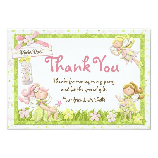 pixie fairy birthday party thank you card  zazzle, Birthday card