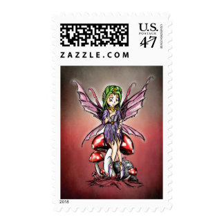 Pixie Fairy on a Toadstool Stamp
