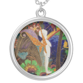 Pixie Fairy Wedgwood Fairyland Lustre Art Pottery Round Pendant Necklace