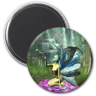 Pixie freeing a frog 2 inch round magnet