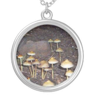 Pixie Globe - Mushrooms Round Pendant Necklace