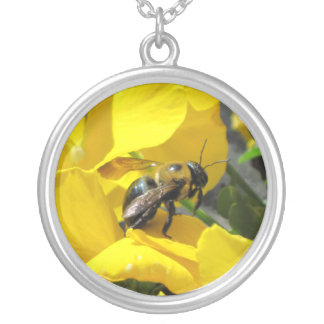Pixie Globes - Busy as a Bee Round Pendant Necklace