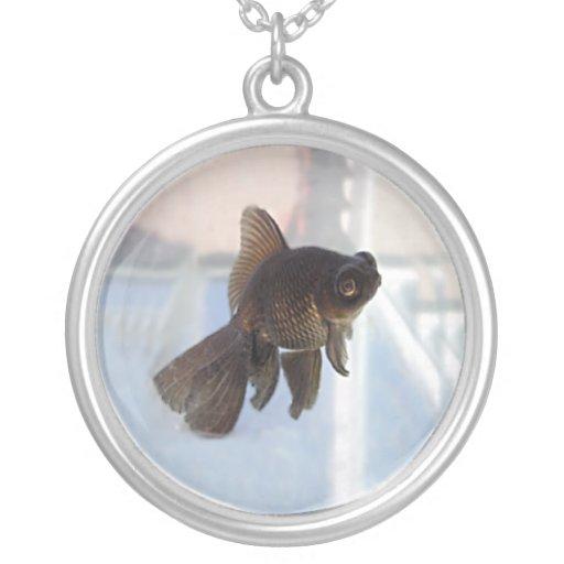 Pixie Globes - Fantail Goldfish Round Pendant Necklace