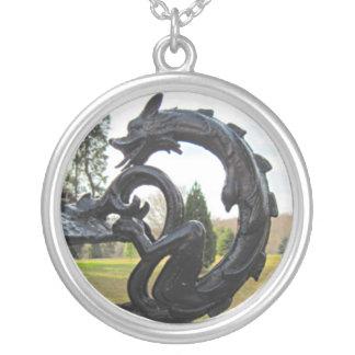 Pixie Globes - Iron Dragon Round Pendant Necklace