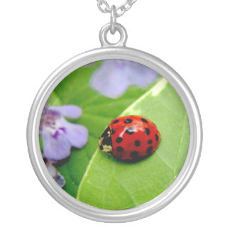 Pixie Globes - Ladybug, Ladybug Round Pendant Necklace