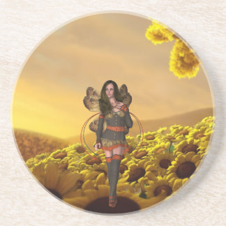 pixie on a sunflower coaster