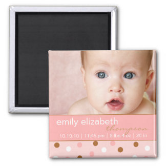 Pixie Pink Polka Dots Baby Girl Photo Magnet