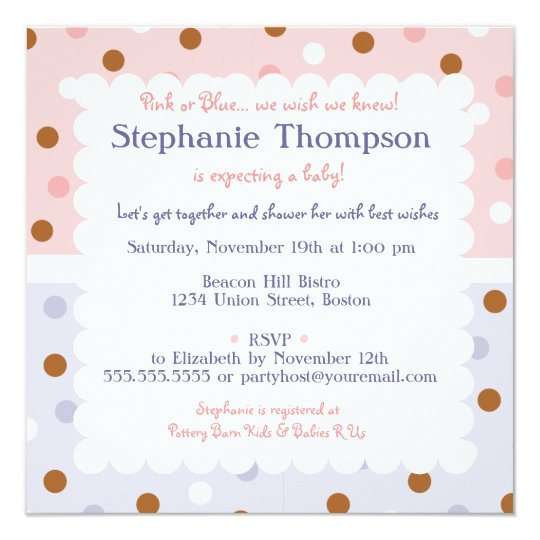 Pixie Polka Dot Pink & Blue Baby Shower Invitation