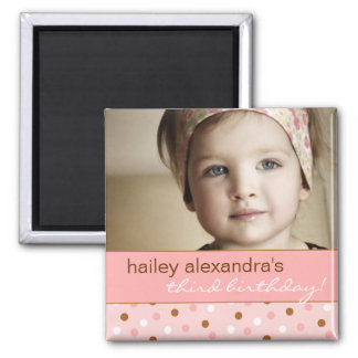 Pixie Polka Dots Birthday Photo Magnet