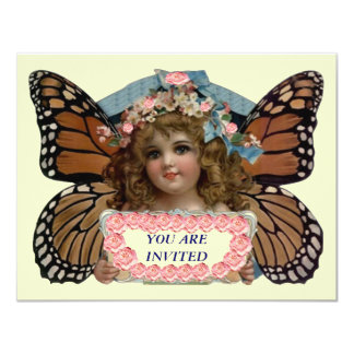 """PIXIE PRINCESS PARTY INVITE BUTTERFLY EZ CUSTOMIZE 4.25"""" X 5.5"""" INVITATION CARD"""