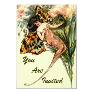 """PIXIE PRINCESS PARTY INVITES LEOPARD SPOTTED WINGS 5"""" X 7"""" INVITATION CARD"""
