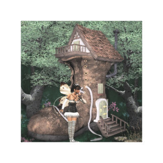 Pixie Shoe House Stretched Canvas Print