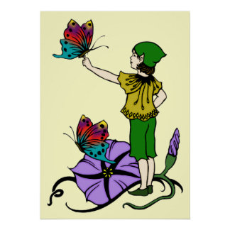Pixie with Butterflies Poster
