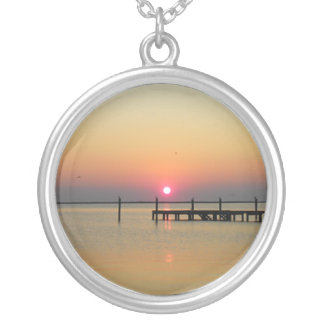 Pixies Globes - Beach Sunset Round Pendant Necklace