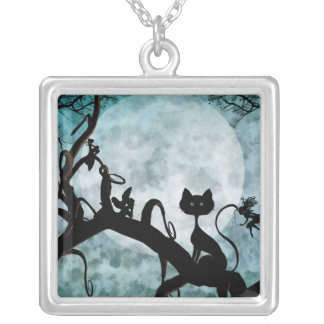 Pixies Playing in the Moonlight Square Pendant Necklace