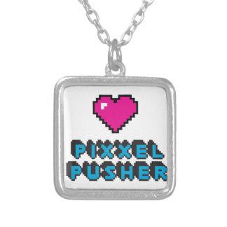 pixxel pusher square pendant necklace