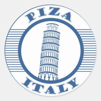 PIZA ITALY BLUE CLASSIC ROUND STICKER
