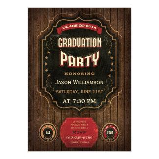 Pizarra 2014 y madera del vintage de la fiesta de invitación 12,7 x 17,8 cm
