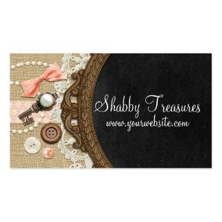 Pizarra, arco coralino y cinta - tesoros tarjetas de visita