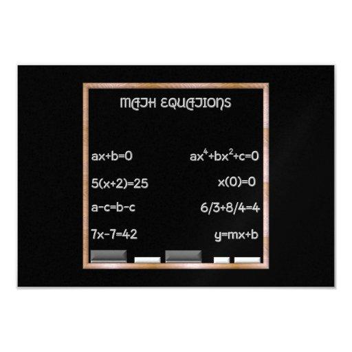 """Pizarra con ecuaciones de la matemáticas invitación 3.5"""" x 5"""""""
