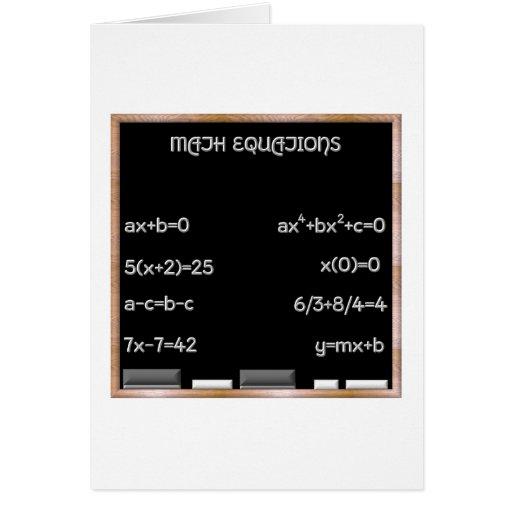 Pizarra con ecuaciones de la matemáticas tarjeta de felicitación