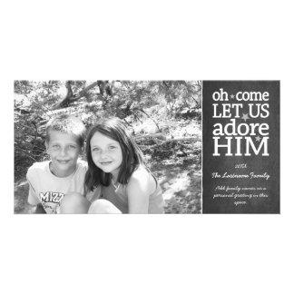 Pizarra cristiana del día de fiesta del navidad de tarjetas fotograficas personalizadas
