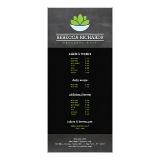 Pizarra de abastecimiento sana del menú de las tarjeta publicitaria a todo color