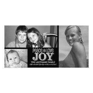 Pizarra de la alegría del amor de la paz - 3 fotos tarjeta con foto personalizada